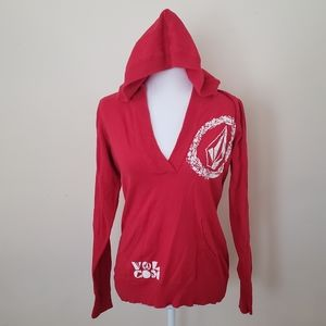 Volcom Red Hooded V Neck  Pullover Sweater